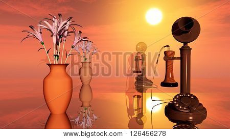 Computer generated 3D illustration with flower vase and candlestick telephone