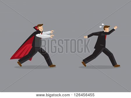 Funny scene of frightened man running away from a vampire hungry for blood. Creative vector illustration isolated on grey background.