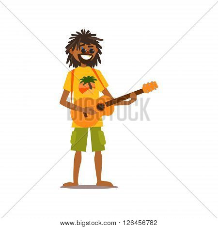 Rastafarian Playing Guitar Isolated Primitive Design Style Vector Illustration on White Background