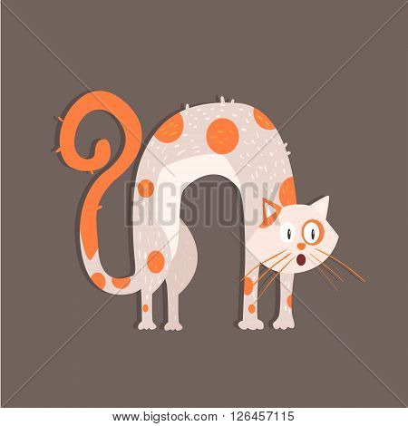 Cat With Arched Back Funny Flat Vector Illustration In Creative Applique Style