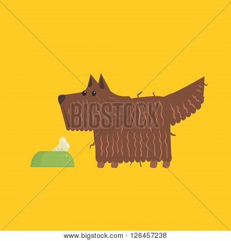 Scottish Terrier With Food Bowl Funny Flat Vector Illustration In Creative Applique Style