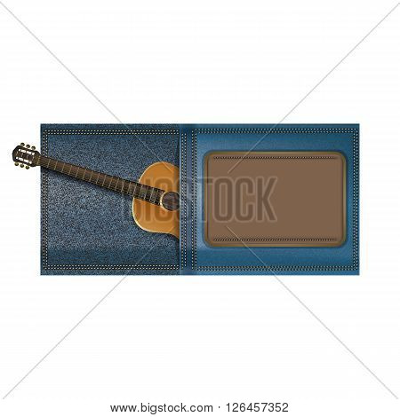 Vector illustration of an acoustic guitar in a pocket of jeans with the logo frame for text or images. isolated object on a white background can be used with any text or image.