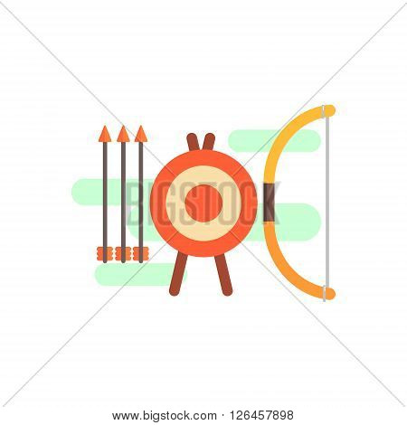 Archery Playing Set Primitive Style Graphic Colorful Flat Vector Image On White Background