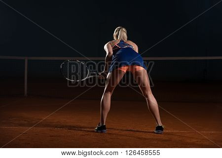 Back View Of Beautiful Female Tennis Player