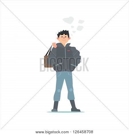 Guy In Black Winter Jacket Primitive Vector Flat Isolated Illustration On White Background