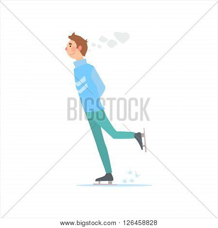Man In Sweater Skating Primitive Vector Flat Isolated Illustration On White Background