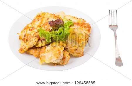 Cutlets with chicken in a plate on a white background