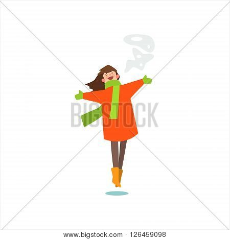 Jumping Girl In Winter Coat Primitive Vector Flat Isolated Illustration On White Background