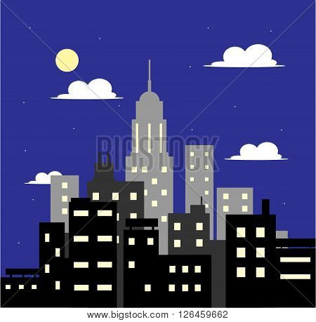 City in the Evening, a hand drawn vector illustration of a city in the evening.