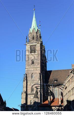 Old church of european style in Nuremberg Germany