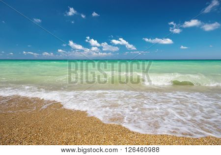 Sea shore and sunny day. Nature composition.