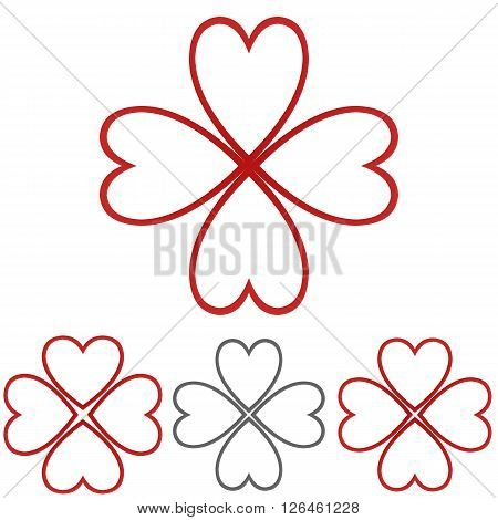 Heart icon symbol design template set for luck, fortune, medical, happiness concepts.