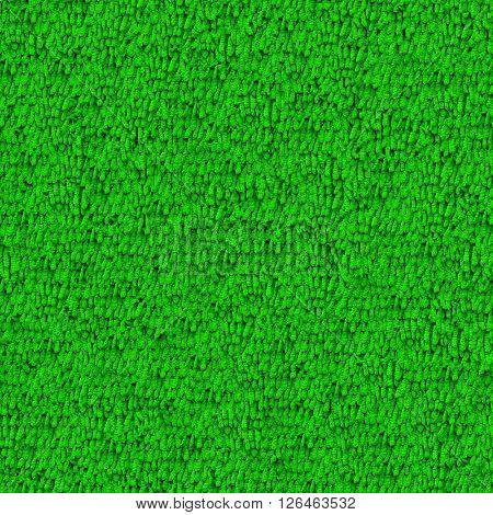 Seamless green carpet closeup texture background.