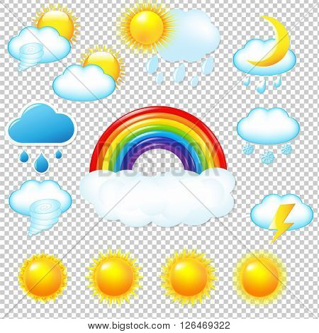 Bright Weather Icons Set Isolated on Transparent Background