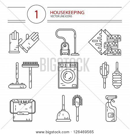Vector modern line style icons set of household cleaning. Vacuum cleaner, washing machine, gloves, brush, mop, wiper, sponges, plunger, brush, bucket, broom. Housekeeping equipment, accessories.