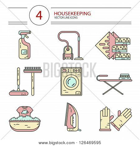 Vector modern line style color icons set of household cleaning. Vacuum cleaner, washing machine, gloves, iron, ironing board, brush and mop, wiper, sponges. Housekeeping equipment, accessories.