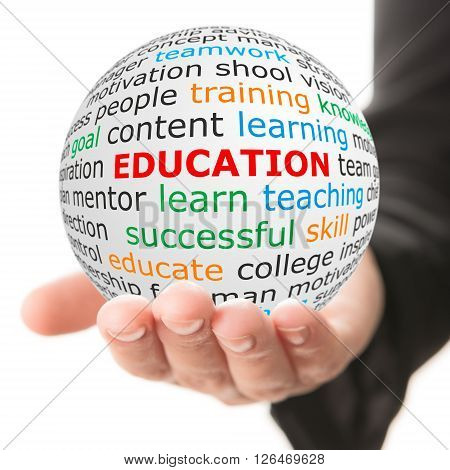 Education concept. Hand take white ball with red inscription education.