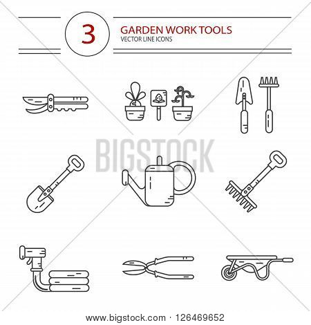 Vector modern line style icons set of garden work tools: secateurs, watering can, shovel, rake, garden cart, garden hose. Gardening and agriculture concept.