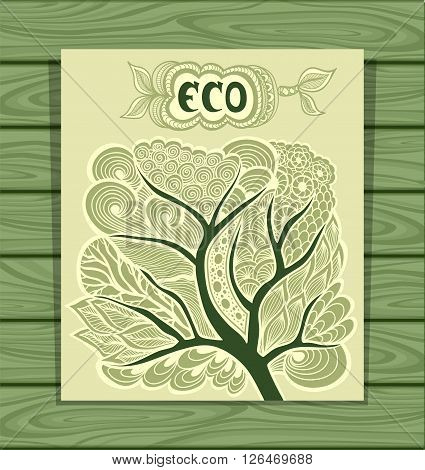 Templet flyer  with Zen-tangle or Zen-doodle in tree in green olive or  creative concept ecological researches  or scientific eco conference