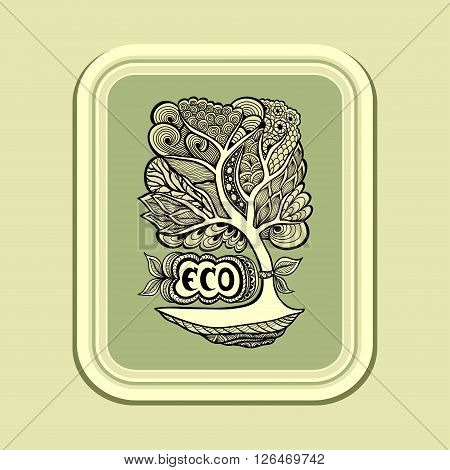 Badge or icon  with Zen-tangle or Zen-doodle tree in  green olive in rectangle or template emblem or symbol  ecology  or creative concept ecological researches  or scientific eco conference