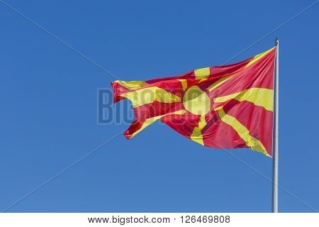 macedonian flag waving in wind. Skopje, Macedonia