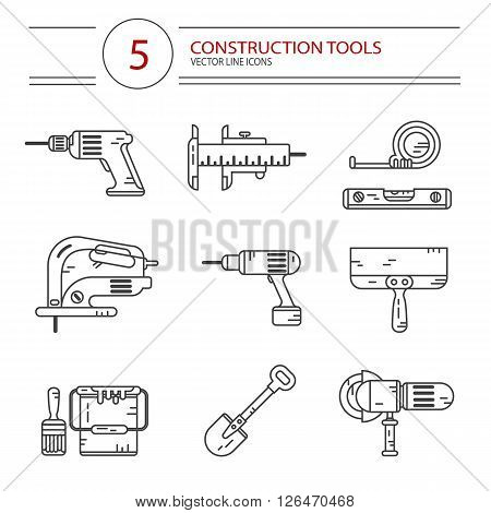 Vector modern line style icons set of construction tools: drill, spatula, shovel, electric jig saw, angle grinder, screwdriver, paint bucket, brush, tape line, scale. Isolated on white background.
