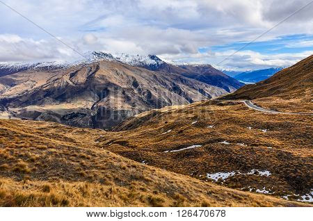 Crown Range Road Near Queenstown In Southern Lakes, New Zealand