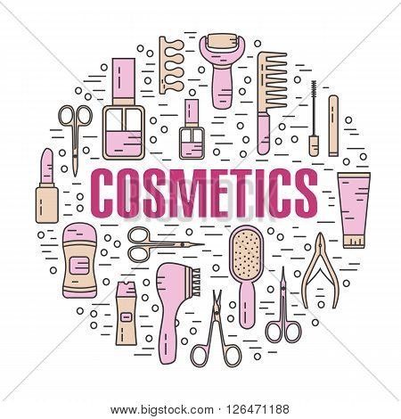 Vector modern line style color illustration of beauty, makeup and cosmetics products. Perfume bottle, shampoo, lipstick, lip gloss, nail polish, brushes, deodorant, brush. Round shape icons set.