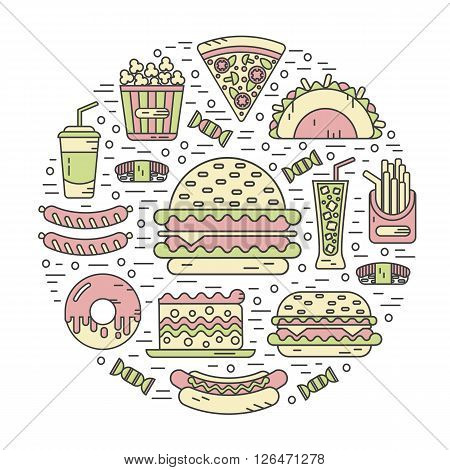 Vector modern line style color icons concept of fast food, junk food. Tacos, popcorn, cheeseburger, hamburger, soda, sausage, french fries, sushi, donut, pizza, cake. Round shape illustration.
