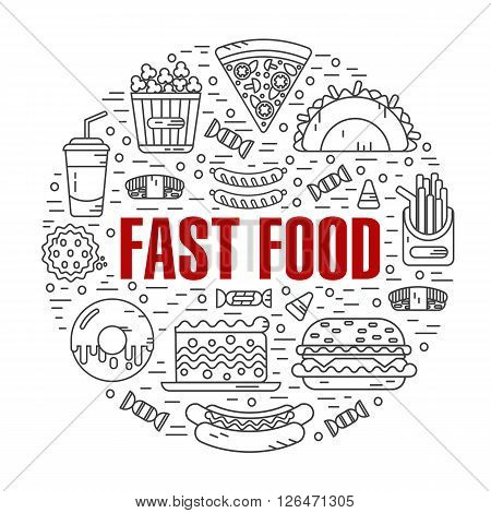 Vector modern line style illustration of fast food, junk food. Tacos, popcorn, cheeseburger, hamburger, soda, sausage, french fries, sushi, donut, pizza, cake. Round shape icons concept.