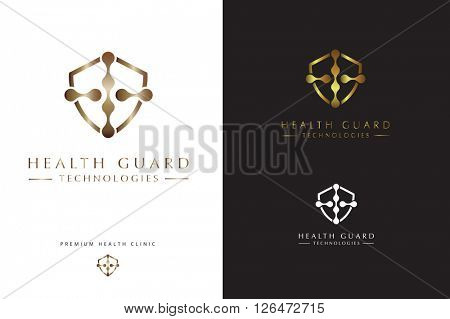TECHNOLOGY SYMBOLISM COMBINED WITH A CROSS SIGN IN A SHIELD SHAPE , BEAUTIFUL LUXURY LOGO DESIGN FOR ANY HEALTH AND TECHNOLOGY OR COSMETICS RELATED COMPANY OR PROFESSION