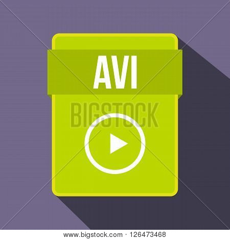 AVI file icon in flat style on a violet background