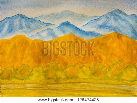 Landscape with blue and yellow hills in autumn watercolor