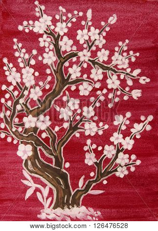 White tree in blossom in traditions of old Chinese art painting gouache on watercolor background.