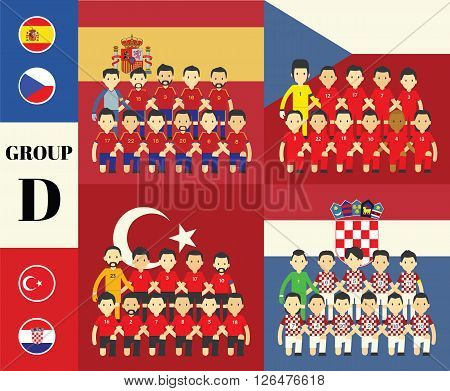 Players team with flags set cartoon concept