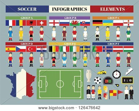Soccer football game Infographics elements cartoon concept