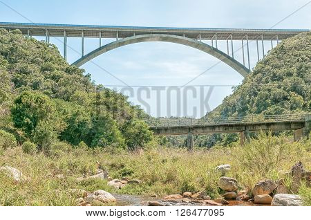 The old and new bridges over the Van Stadens River between Port Elizabeth and Jeffreys Bay in the Eastern Cape Province of South Africa