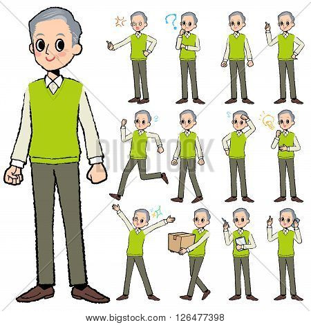 Set of various poses of Green vest grandfather in hand painted