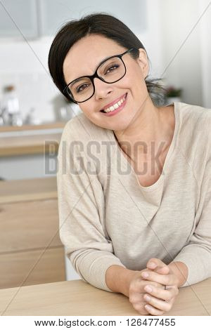 Attractive 40-year-old woman with eyeglasses