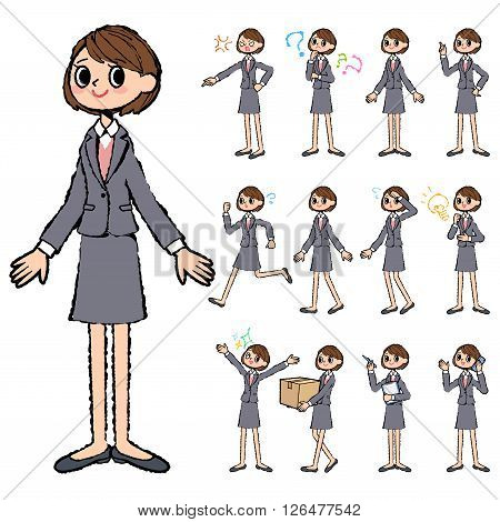 Set of various poses of Gray suit business woman in hand painted