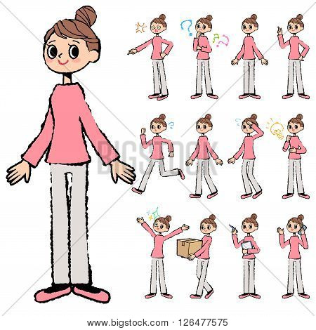 Set of various poses of Bun hair mom Pants style in hand painted