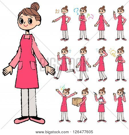 Set of various poses of Bun hair mom Apron style in hand painted