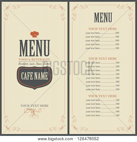 Menu and price for a cafe or restaurant with a toque