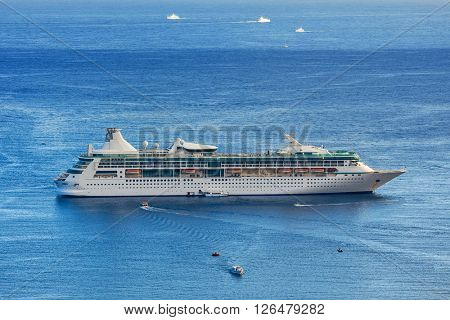 Anchored cruise ship on Mediterranean sea in France.