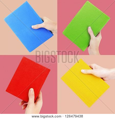 Woman hands holding color books in collage on bright color backgrounds