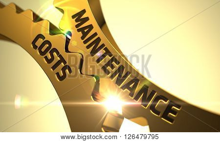 Maintenance Costs on the Golden Cog Gears. Maintenance Costs on the Mechanism of Golden Metallic Gears with Lens Flare. Maintenance Costs Golden Gears. 3D Render.