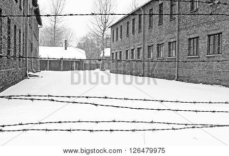 OSWIECIM, POLAND - DECEMBER 28, 2010: Auschwitz II Birkenau concentration camp located in the west of Krakow, Poland