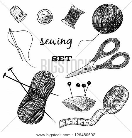 Sewing set. Thimble, needle, thread, bobbin, scissors. Black and white illustration