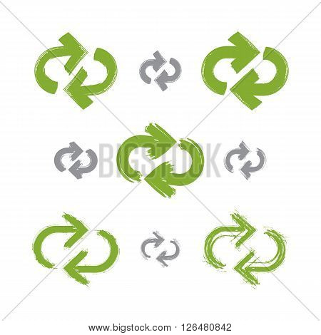 Set of hand-painted green update signs isolated on white background collection of simple reuse ecology icon created with real hand-drawn ink brush scanned and vectorized. Refresh symbol.