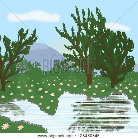 the illustration of a beautiful landscape near the lake.